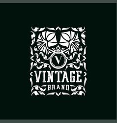 Letter v vintage logo design vector