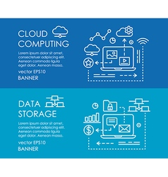 Line art web banner for cloud computing and data vector image