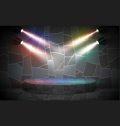 marble podium with colorful spotlight vector image