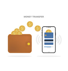 money transfer mobile payment isolated background vector image