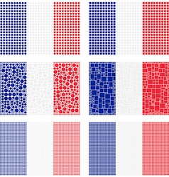 Mosaic France flag set vector