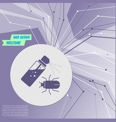 mosquito spray bug icon on purple abstract modern vector image
