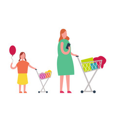 mother and daughter doing shopping vector image