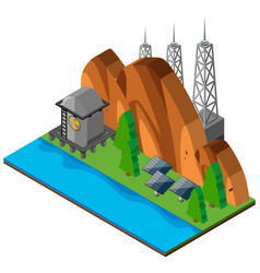 Mountain scene with solar cells vector
