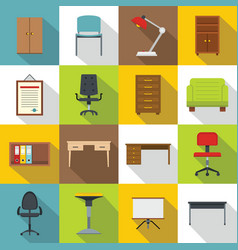 office furniture icons set flat style vector image