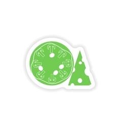 Paper sticker on white background mushroom pizza vector