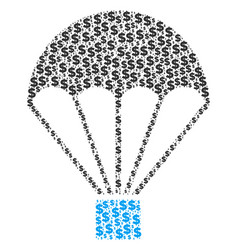 Parachute collage of dollar and dots vector