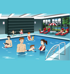 parents and babies swimming vector image