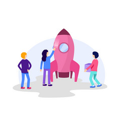 people build space rocket launch startup creative vector image