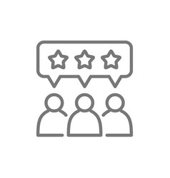 People with star bubbles rating feedback vector