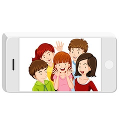 Picture of people in the cellphone vector image