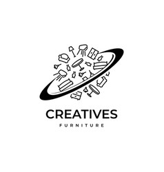 planet furniture logo design vector image