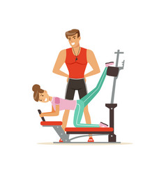 Professional fitness coach and woman exercising on vector
