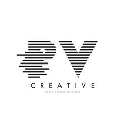pv p v zebra letter logo design with black and vector image