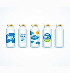 realistic detailed 3d milk bottle template set vector image
