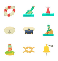 Recovery on water icons set cartoon style vector