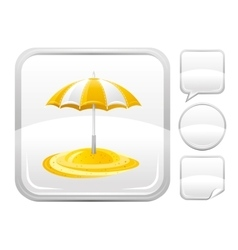 Sea beach and travel icon with umbrella and other vector