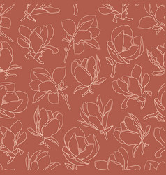 Seamless pattern with beige blooming magnolia vector