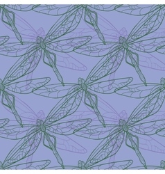 Seamless pattern with dragonfly on purple vector