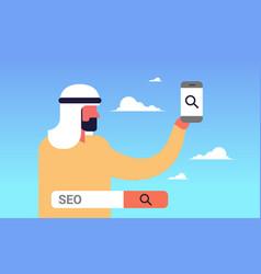 Seo search engine optimization arabic man using vector