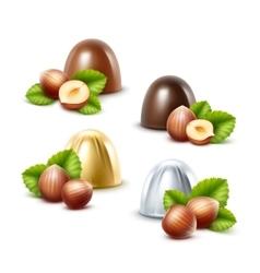 Set black milk chocolate candies with hazelnuts vector