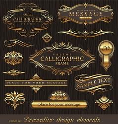set golden decor elements vector image