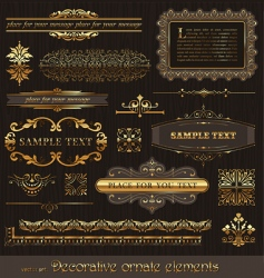 set golden page decor vector image
