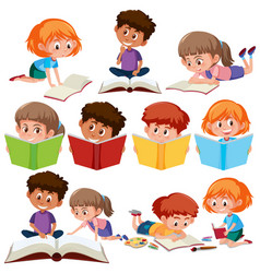 Set of kid reading book vector