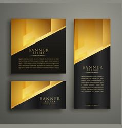 set of three premium golden banner design vector image