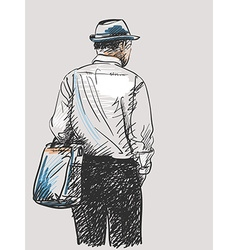 sketch man dressed in stylish clothes and hat hand vector image