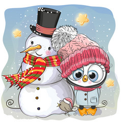 Snowman and cute penguin girl in a hat vector