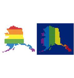 spectrum pixel dotted alaska map vector image