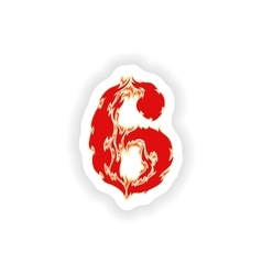 Sticker fiery font red number 6 on white vector