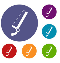 Surgical saw icons set vector