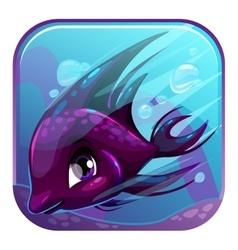 Swimming black fish vector image