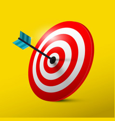 target 3d symbol with dart dartboard icon vector image