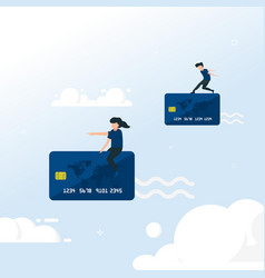 transaction with credit card flying people in vector image