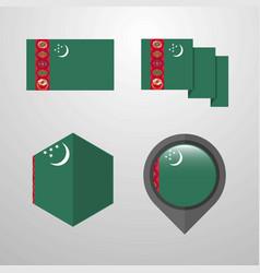 Turkmenistan flag design set vector