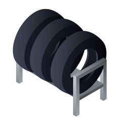 Tyres on rack icon isometric style vector
