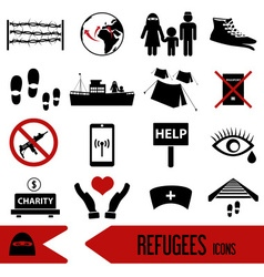 various simple refugees theme icons set eps10 vector image