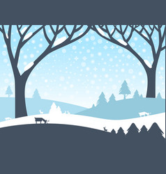 winter landscape nature scene with trees roe deer vector image