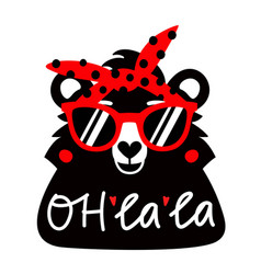 with bear in red sunglasses and headband vector image