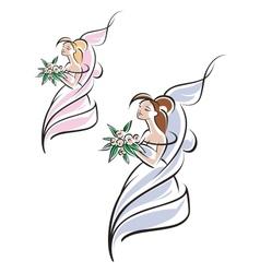 Young pretty bride vector image