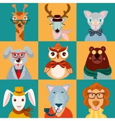 Animal hipsters icons flat vector