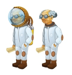 Bald scientist with diving and without it vector image