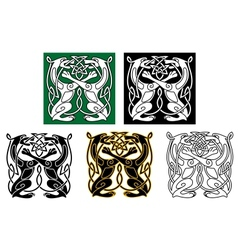 Celtic dogs and wolves vector image vector image
