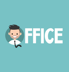 office sign young successful manager icon flat vector image vector image