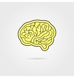 simple black and yellow brain vector image