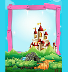 border template with castle in the woods vector image vector image