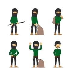 Criminal man Burglar and thief character vector image